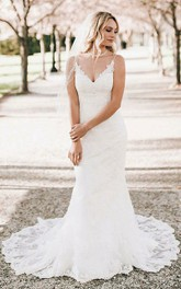 Bohemian V-neck Lace Floor-length Mermaid Sheath Brush Train Sleeveless Wedding Dress