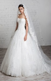 A-Line Long Sweetheart Sleeveless Lace-Up Tulle Dress With Appliques