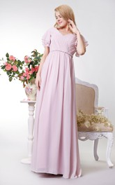 Graceful V-neck Empire Chiffon A-line Gown With Ruffled Sleeves