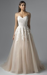 A-Line Sweetheart Appliqued Floor-Length Sleeveless Lace&Tulle Wedding Dress With Pleats And Lace-Up Back