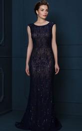 Sheath Sequined Cap-Sleeve Scoop-Neck Long Evening Dress