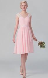 Short Graceful Cap-Sleeved Chiffon Dress With V Back
