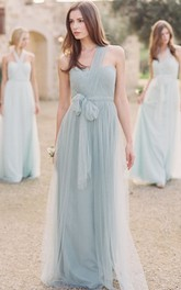 One-Shoulder Long Bowed Tulle Bridesmaid Dress With Ruching