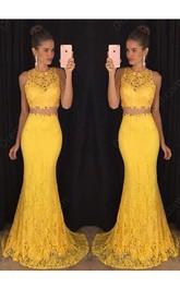 Sleeveless Mermaid Sweep Train Lace Dress