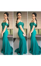 Mermaid Trumpet Satin Sequins Off-the-shoulder Short Sleeve Deep-V Back Dress