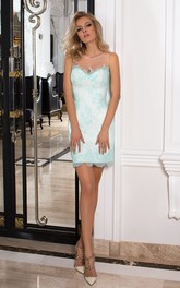 Pencil Short Mini Scoop Sleeveless Lace Lace-Up Corset Back Dress