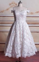 Tea-Length Off-The-Shoulder Tulle Lace Satin Weddig Dress