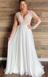 Chiffon Lace Floor-length A Line Long Sleeve Ethereal Wedding Dress with Pleats