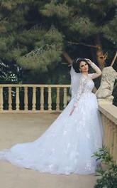 Glamorous Illusion Tulle Lace Appliques Wedding Dress 2018 Long Sleeve Zipper