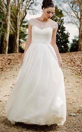 Ethereal A Line Bateau Lace Chiffon Floor-length Deep-V Back Wedding Dress with Ribbon