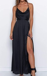 Modern Satin V-neck Cowel A Line Guest Dress With Ruffles and Split Front