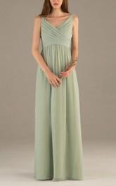 Sleeveless V Neck V Back Empire Pleated A-line Chiffon Long Dress