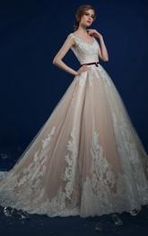 A-Line Maxi Bateau-Neck Sleeveless Zipper Lace Dress With Appliques
