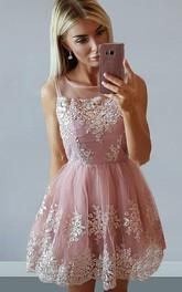 A-line Sleeveless Lace Bateau Zipper Short Mini Homecoming Dress