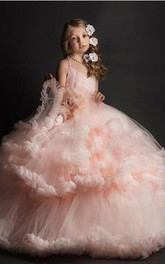 Tulle Spaghetti Ball Gown Flower Dirl Dress with Tier