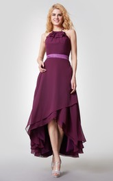 Ruffled Halter Neck Tiered High-low Chiffon Dress With Straps Back