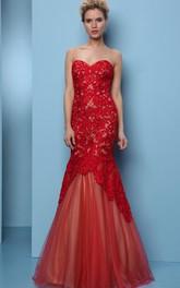 Mermaid Floor-Length Appliqued Sweetheart Sleeveless Tulle Prom Dress