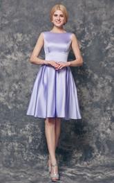 Bateau Neckline A-line Short Satin Dress With Pleats