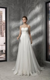 Floor-length Empire Sweetheart Sleeveless Appliques Corset Back Dress