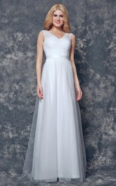 V-neck A-line Long Tulle Dress With Sash
