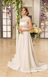 A-Line Long High-Neck Sleeveless Illusion Chiffon Dress With Lace And Waist Jewellery