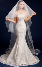 Tulle Cathedral Wedding Veil with Lace Edge and Appliques