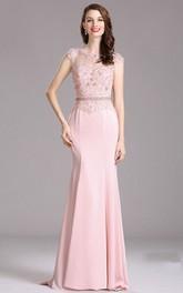 Sheath Sweep Bateau Short Sleeve Taffeta Lace Keyhole Dress