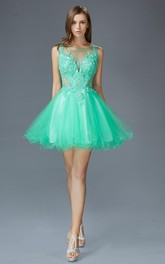 A-Line Short Bateau Sleeveless Low-V Back Dress With Appliques And Beading