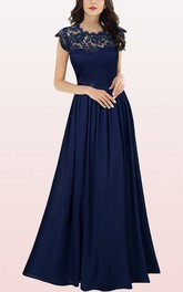 Romantic Scalloped Chiffon A Line Bridesmaid Dress With Pleats