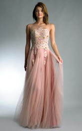A-line Floor-length Jewel Sleeveless Tulle Low-V Back Dress