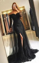 Lace Tulle Floor-length Sweep Train Trumpet 3/4 Length Sleeve Sexy Prom Dress