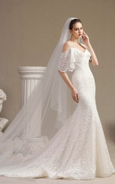 Fancy Cute Off-the-shoulder Lace Mermaid Wedding Dress With Straps And Half Sleeves