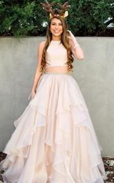 Satin Organza Floor-length A Line Sleeveless Simple Formal Dress with Beading