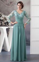 V-Neck Chiffon Long Appliqued Dress With Illusion Neckline