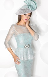 Knee-Length Jewel Neck Illusion Sleeve Jeweled Jersey Mother Of The Bride Dress