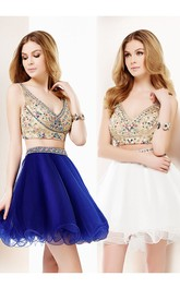 Short A-Line Crystal V-Neck Sleeveless Tulle Cocktail Dress