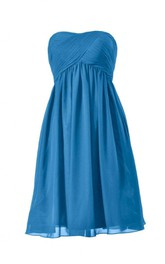 Strapless Asymmetrical Ruched Bodice Knee-length Pleated Chiffon Dress