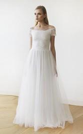 Lace Tulle Off-the-shoulder Floor-length Short Sleeve A-line Wedding Dress