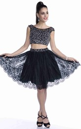 Two-Piece A-Line Prom Dress With Beaded Bodice And Lace Skirt