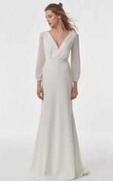 Modern V-neck Chiffon Sheath Long Sleeve Floor-length Sweep Train Wedding Dress with Cowel Back