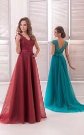 A-Line Floor-Length Sweep V-Neck Short Sleeve Tulle Beading Pleats Low-V Back Dress