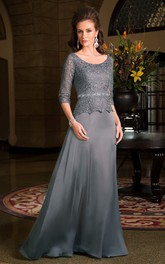3-4 Sleeved Scoop-Neck Long Mother Of The Bride Dress With Lace Bodice