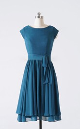 A-line Knee-length Cap Sleeve Chiffon Dress