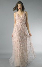 Sheath Floor-length V-neck Sleeveless Tulle Low-V Back Dress