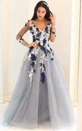 A-Line Lace Tulle V-neck Long Sleeve Low-V Back Dress