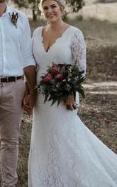 Modest Mermaid V-neck Lace Floor-length Court Train Zipper Wedding Dress