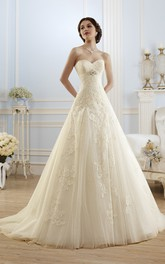 A-Line Long Sweetheart Sleeveless Lace-Up Lace Tulle Dress With Appliques And Waist Jewellery