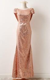 Rose Gold Sequin Prom Bridesmaid Short Sleeve Rose Gold Sequin Sexy Formal Elegant Evening Petit Bonheur Dress