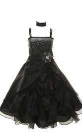 Sleeveless A-line Dress With Ruffles and Beadings