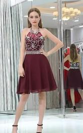 A-line Sleeveless Chiffon Halter High Neck Open Back Zipper Knee-length Homecoming Dress